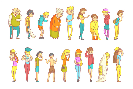 People With Different Illnesses Illustration