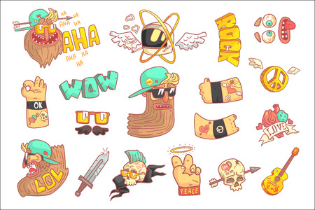 Set Of Stylized Rock Themed Stickers Illustration
