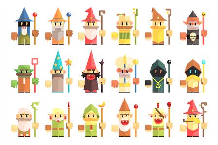 Gnomes, dwarfs or elf and leprechaun cartoon magic characters vector