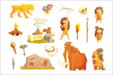 Life stone age Primitive man. Ice age. Stock Illustratie
