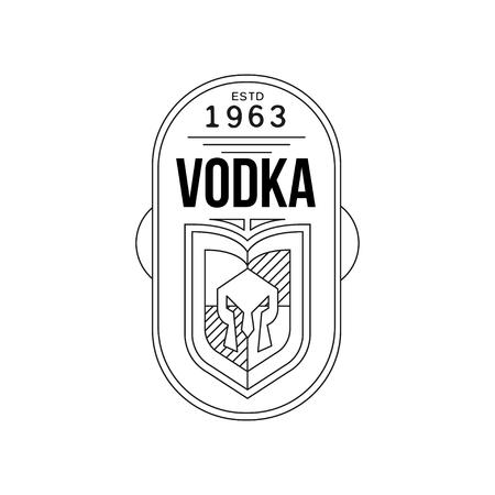 Vodka vintage label design, alcohol industry monochrome badge vector Illustration on a white background