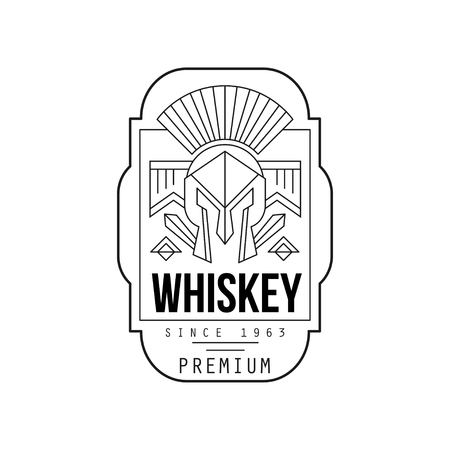 Whiskey vintage label design, alcohol industry monochrome badge vector Illustration on a white background Illustration