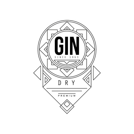 Gin vintage label design, alcohol industry monochrome badge vector Illustration on a white background