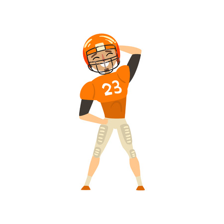 Smiling American football player wearing uniform standing vector Illustration on a white background