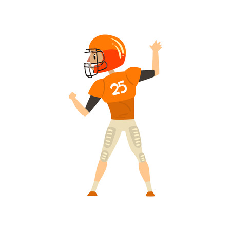 American football player wearing uniform, back view vector Illustration on a white background