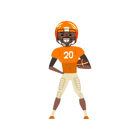 Smiling American football player wearing uniform standing with ball vector Illustration on a white background Illustration