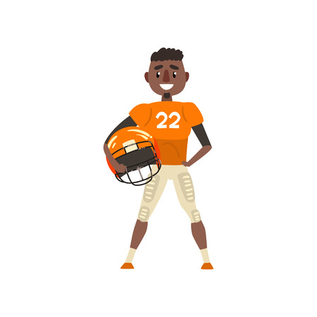 American football player wearing uniform holding helmet vector Illustration on a white background