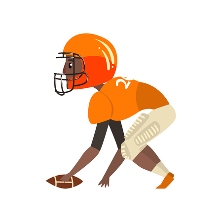 American football player wearing uniform, ouarterback playing with ball vector Illustration on a white background Illustration