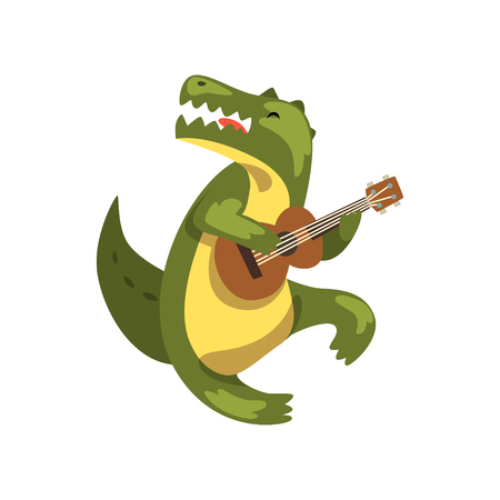 Crocodile playing guitar, cartoon animal character with musical instrument vector Illustration on a white background Illustration
