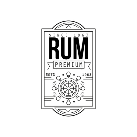 Rum vintage label design, alcohol industry monochrome badge vector Illustration on a white background