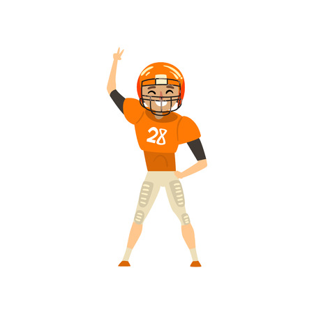American football player wearing uniform showing victory sign vector Illustration on a white background