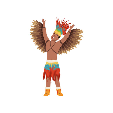 Aztec warrior man character in traditional clothes with wings vector Illustration on a white background 免版税图像 - 102631734