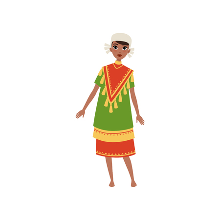 Aztec girl in traditional clothes, native american indian woman character vector Illustration on a white background