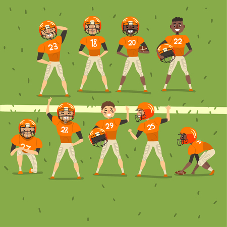 Professional american football team players in field vector Illustration