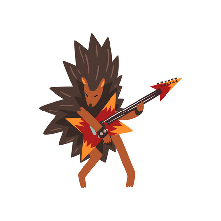 Hedgehog playing electric guitar, cartoon animal character with musical instrument vector Illustration on a white background