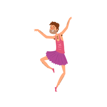 Funny bearded man dancing in tutu dress cartoon vector Illustration on a white background Banque d'images - 102767338