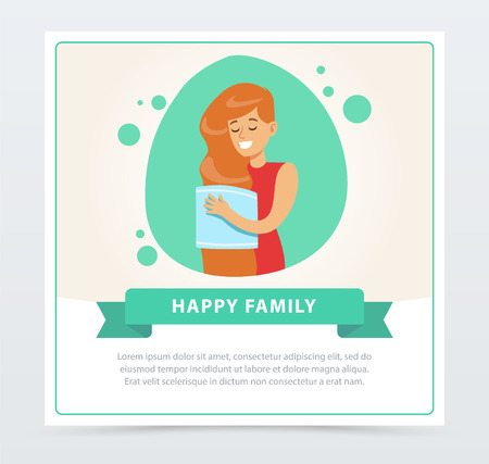 Young woman drying hair with towel, daily routine hygiene procedure, happy family banner flat vector ilustration, element for website or mobile app
