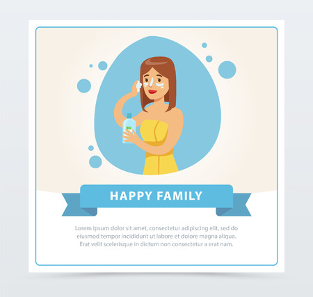 Junge Frau, die Creme auf ihrem Gesicht, tägliches Hygieneverfahren, glückliche Familienbanner-flache Vektorillustration, Element für Website oder mobile App anwendet