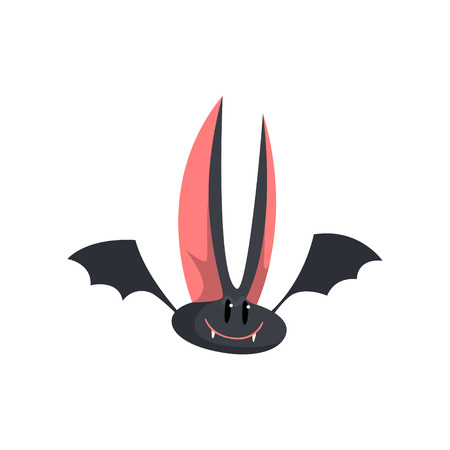 Cute funny cartoon halloween bat character with big ears vector Illustration on a white background Çizim