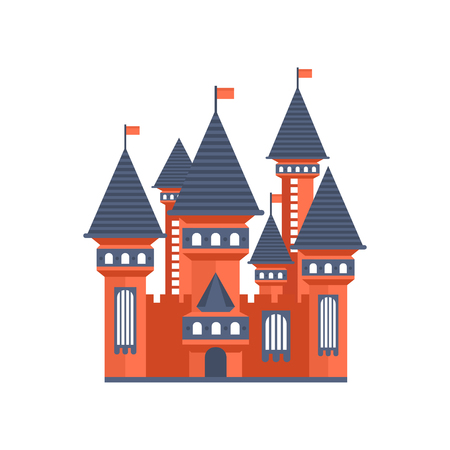 Fairytale medieval castle with flags vector Illustration on a white background