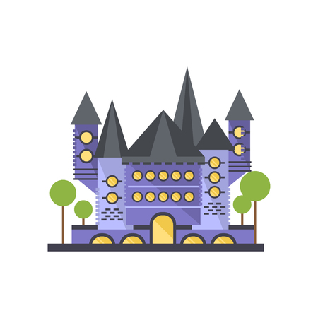 Fairytale blue stone castle vector Illustration on a white background