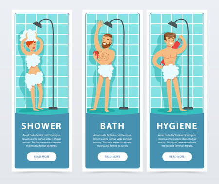 People taking shower banners set, daily hygiene procedure flat vector ilustrations, element for website or mobile app