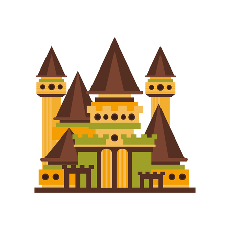 Fairytale medieval castle with towers vector Illustration on a white background 向量圖像