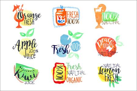 Fresh Fruit Juice Promo Signs Colorful Set Ilustracja