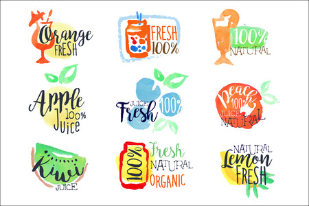 Fresh Fruit Juice Promo Signs Colorful Set Illustration