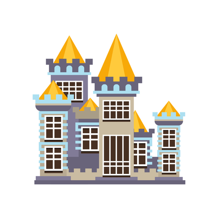 Medieval kingdom stone castle vector Illustration on a white background Illusztráció
