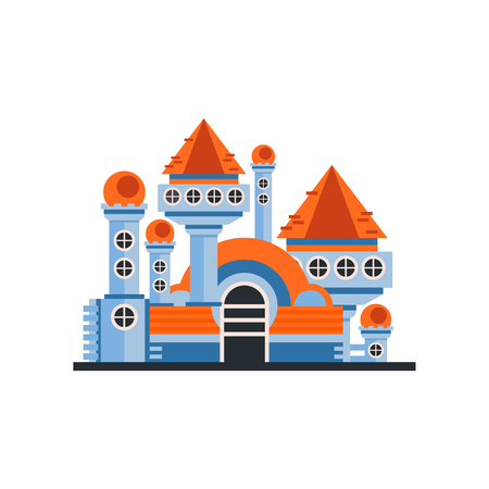 Fairytale fantasy castle vector Illustration on a white background