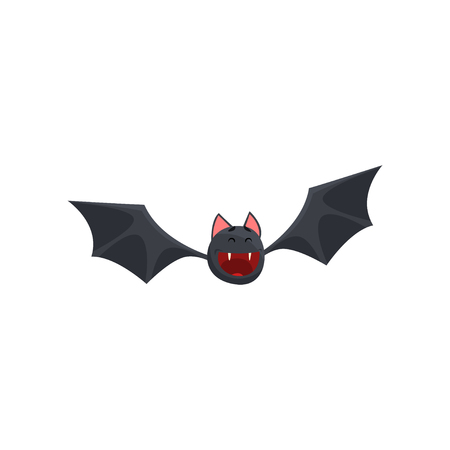 Cute happy smiling cartoon halloween bat character flying vector Illustration on a white background Illustration