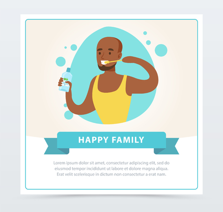 Man brushing his teeth, happy family banner flat vector ilustration, element for website or mobile app