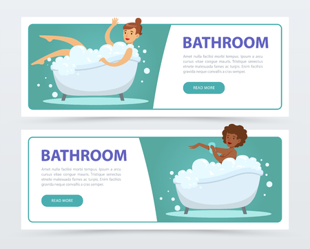 Young women taking bubble bath in bathtub banners set, daily hygiene procedure flat vector ilustrations, element for website or mobile app Illustration
