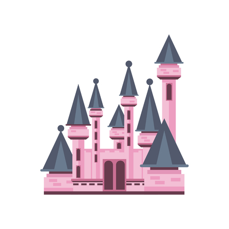 Fairytale fantasy pink castle vector Illustration on a white background