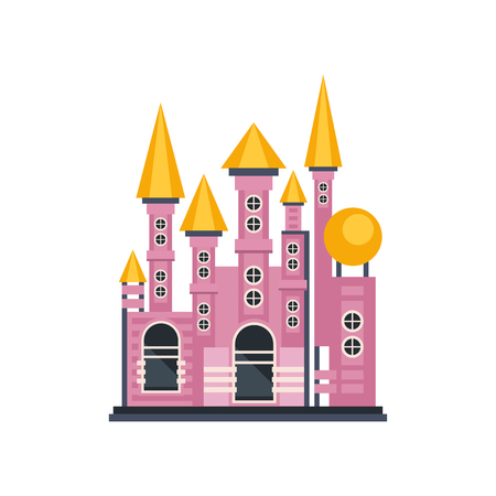 Pink fairytale princess castle vector Illustration on a white background