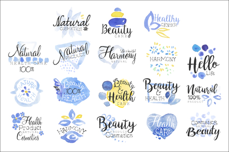 Beauty And Spa Promo Signs Colorful Set Ilustracja