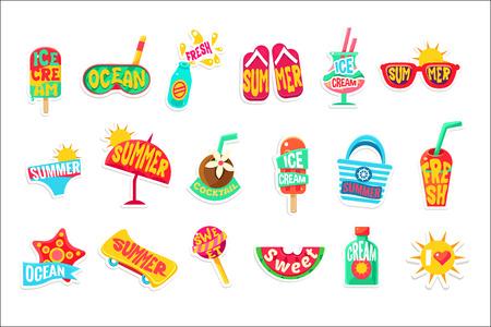 Summer Beach Holidays Stickers With Text Set 일러스트