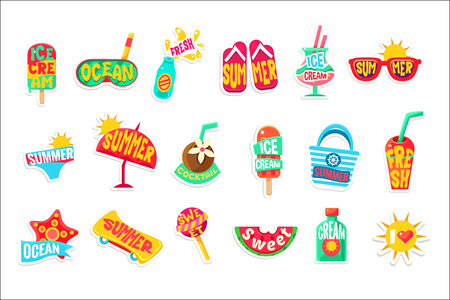 Summer Beach Holidays Stickers With Text Set  イラスト・ベクター素材