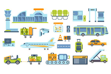 Airport Related Objects Set Illustration