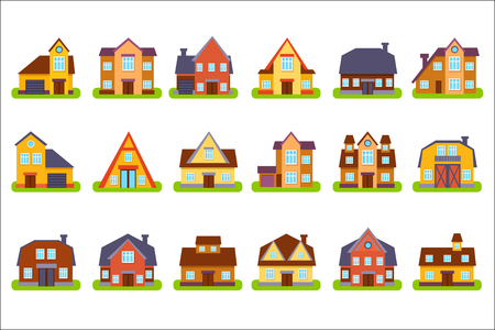 Suburban Real Estate Houses Set Illustration