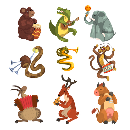 Cute cartoon animal characters playing various musical instruments vector Illustrations on a white background