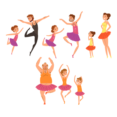 Ballet girls and their fathers in tutu dress dancing in ballet studio cartoon vector Illustrations on a white background Illustration