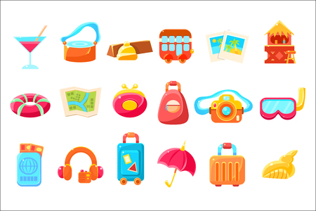 Travel Related Objects Colorful Simplified Icons Illustration