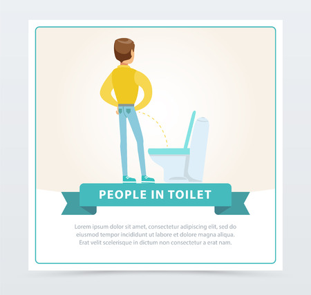 Man standing and peeing in toilet, daily hygiene procedure, people in toillet banner flat vector ilustration, element for website or mobile app Illusztráció