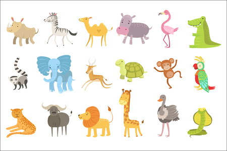 African Animals Illustration Set Illustration