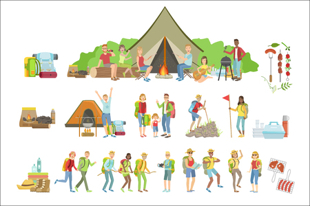 People Camping And Their Equipment Set Stock Vector - 102851153