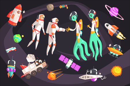 Astronauts Shaking Hands With Extraterrestrial Beings In Space Surrounded By Travel Related Objects Illustration