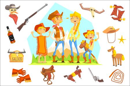 Family Dressed As Cowboys Surrounded By Wild West Related Objects Banque d'images - 102851157