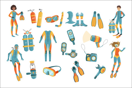 Scuba Diving Gear Set 向量圖像